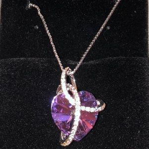 Swarovski Crystal Amethyst Heart Necklace